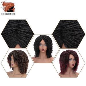 Image 5 - Pelucas sintéticas cortas y suaves para mujeres negras, elegante MUSES, fibra de alta temperatura, Dreadlock, degradado, Burg, cabello trenzado de ganchillo