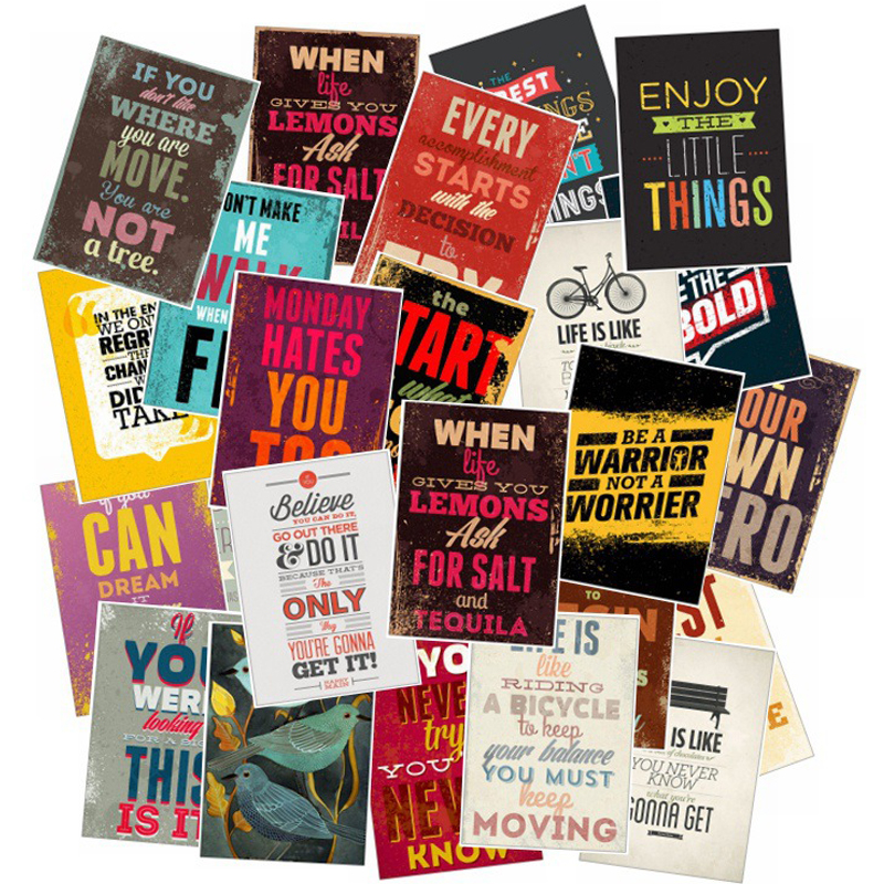 25pcs/Pack Motivational Typography Life Quotes Retro Stickers For Kids Notebook Diary Decal Laptop Bedroom Wall Stickers F4