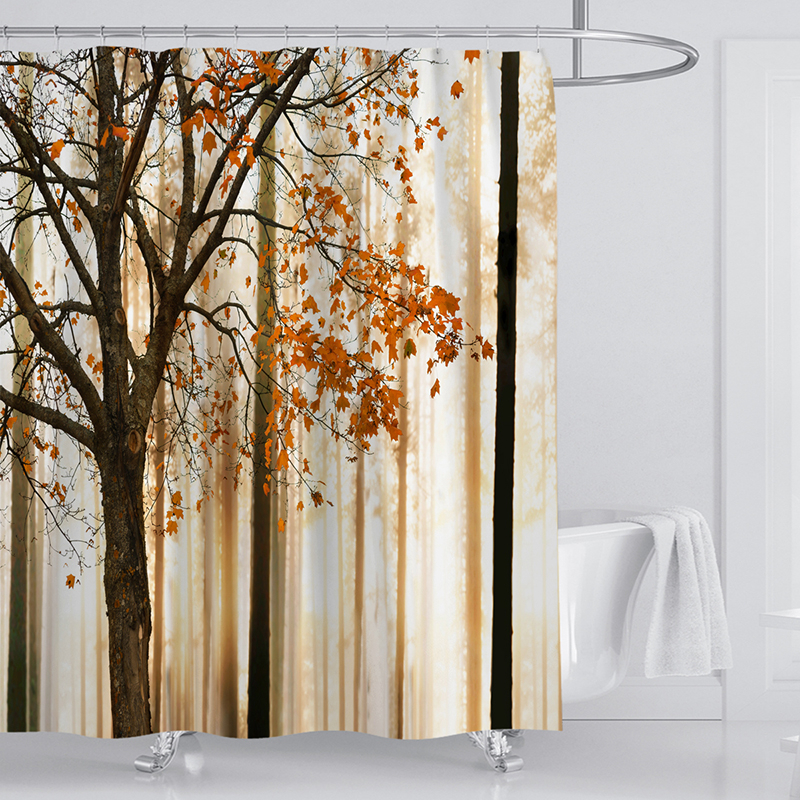 3d Shower Curtains Bathroom Curtain Fabric Brown Autumn Woods