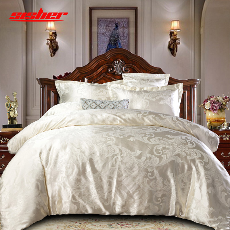 Sisher Luxury Bedding Set Queen Size Floral Jacquard Duvet Cover Sets Single King Wedding Bed Linen Flat Sheet Quilt Covers