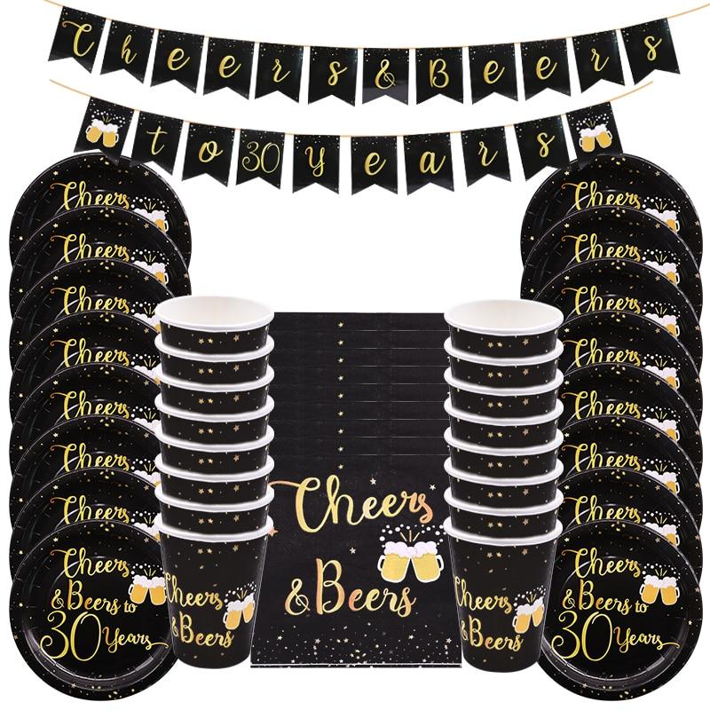 30 40 50 60 лет Черное золото одноразовые столовые приборы набор ура и пиво Взрослый день рождения украшения бумажные тарелки чашки баннер