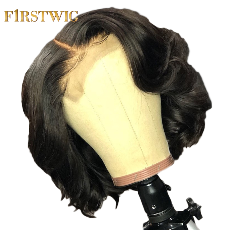 Short Human Hair Wig Brazilian Body Wave Bob Lace Front Human Hair Wigs Long Pre Plucked For Black Women Remy Hair 13x4 FirstWig