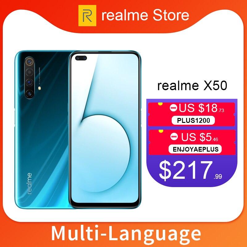 Realme x50 x 50 5g 8 gb 128 gb 6.57 mobmobtelefone moblie snapdragon 765g octa núcleo 64mp quad câmera celular vooc 30 w carregador rápido
