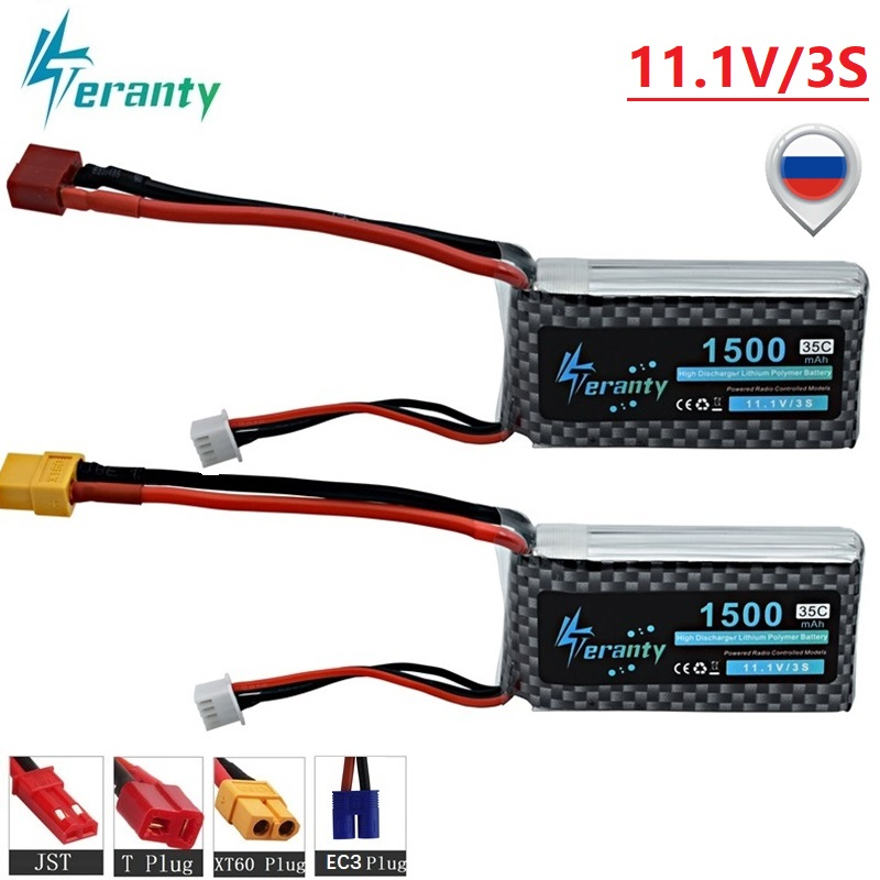 3S Lipo 11.1v 1500mAh 35C LiPo Battery T/XT60/JST/EC3 Plug For RC Car/Airplane/Helicopter 11.1 V Rechargeable Lipo Battery 2pcs