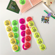 Color Circular Label Sticker Thank You Smiling Face Diy Fluorescence Waterproof Seal Decorative stickers scrapbooking Stationery
