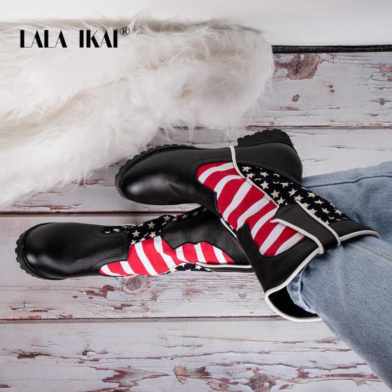 LALA IKAI kadın orta çizmeler 2019 PU deri karışık renk ayakkabı kış sıcak Slip-On kare topuklu çizmeler su geçirmez botlar XWC5392-4
