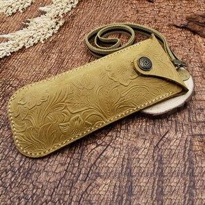 Image 5 - Cubojue cuir véritable, fait à la main, de marque, avec boîte à sangle, pour montures de lunettes, petit bouton de lunettes de soleil, étui à lunettes (53g)