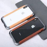 Oatsbasf para iphone xr xs max ferro quadro de madeira caso proteção metal personalidade simples metal pára-choques capa para iphone x