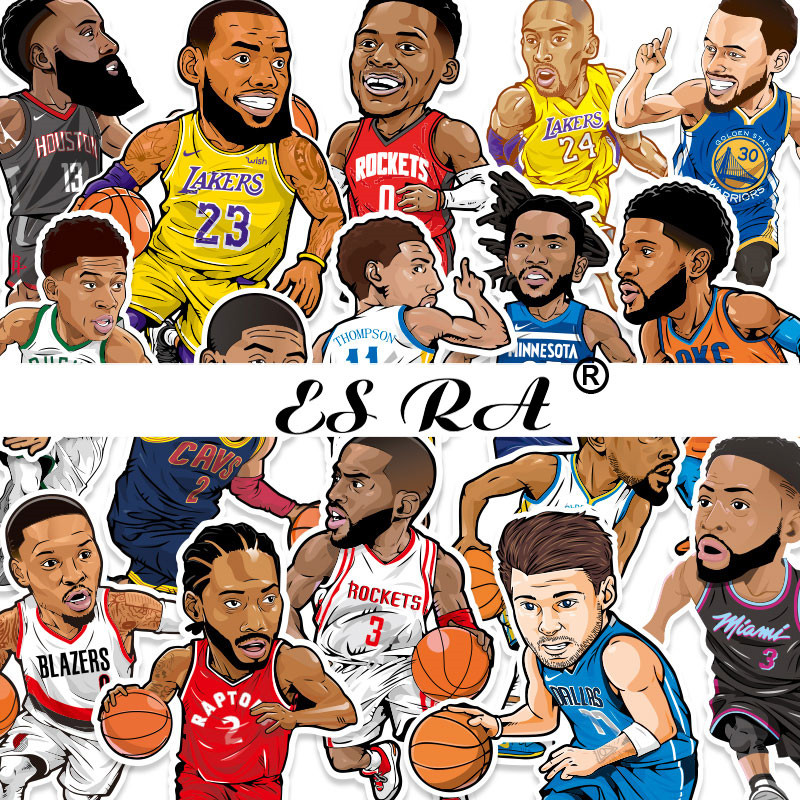 Sport Decal Luggage Stickers Toys Basketball Stars Stickers For Boys Laptop Pitcher Guitar Skatebboard Moble Room Decorate