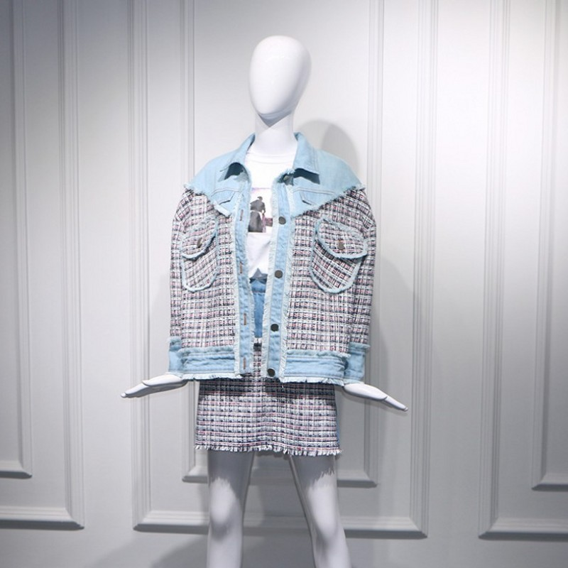 Spring New Womens Fashion Denim Patchwork Tweed Plaid Two Piece Sets Pockets Tassel Loose Jackets Coat Slim Fit A-Line Skirts