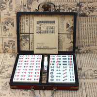 New Mini Chinese Toy Antique Mahjong Games Entertainment With English Instruction Four Wind Board Game Wooden Box Mah jong