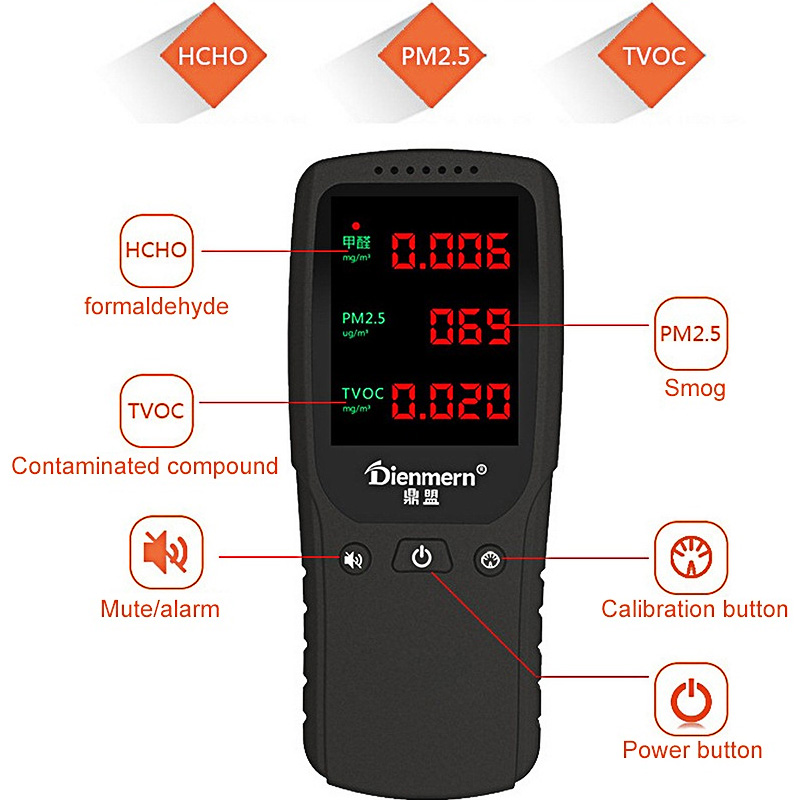 PM2 5 Formaldehyde Detector Air Quality Monitor TVOC PM 2 5 2000mAh Lithium Battery Indoor Gas Alarm Monitoring Analyzer Meter in Industrial Metal Detectors from Tools