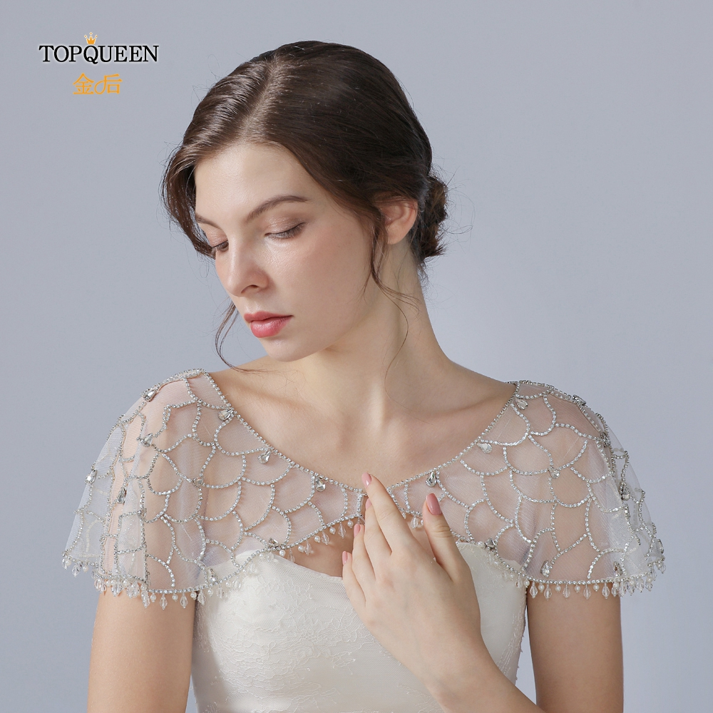 TOPQUEEN G14 Crystal Bling Beaded White Bridal Wraps Beading Lace Bateau Wedding Shawl Jacket Bolero Wrap Bridal Wedding Wrap