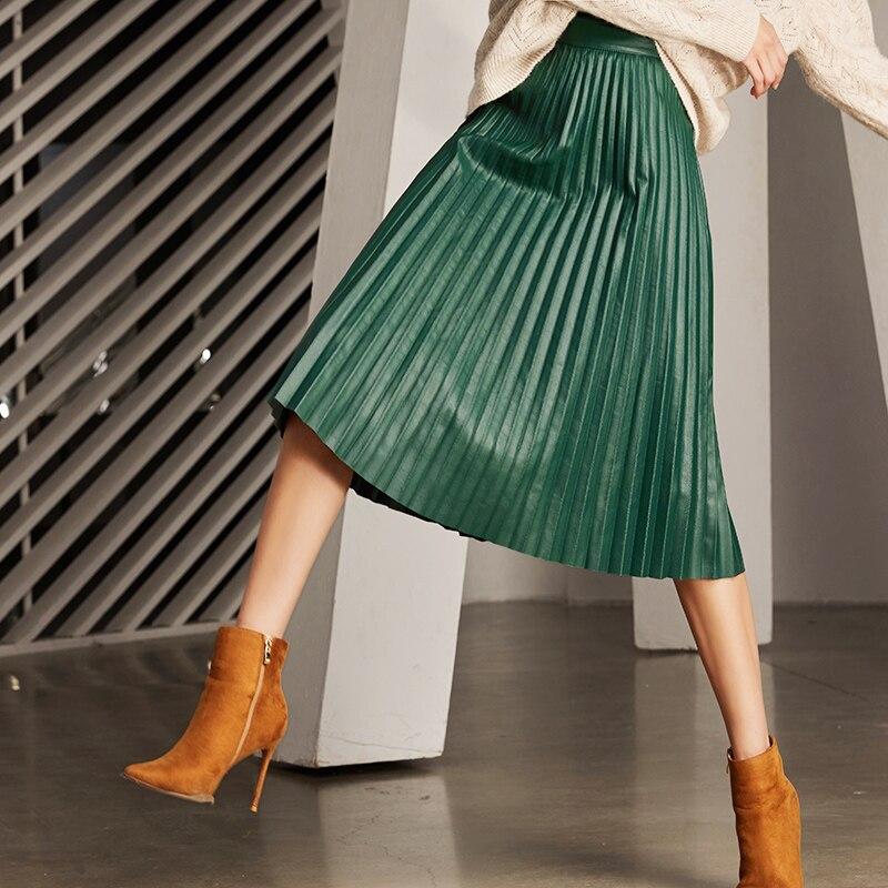 RYS7360 Vrouwen 2019 Elegante Mode Full lengte Lederen 75cm Lange Geplooide Rok Lady Nappa Straat Zwart Jupe faldas Mujer-in Rokken van Dames Kleding op  Groep 1