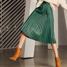 RYS7360 Women 2020 Elegant Fashion Full length Genuine Leather 75cm Long Pleated Skirt Lady Nappa Street Black Jupe Faldas Mujer