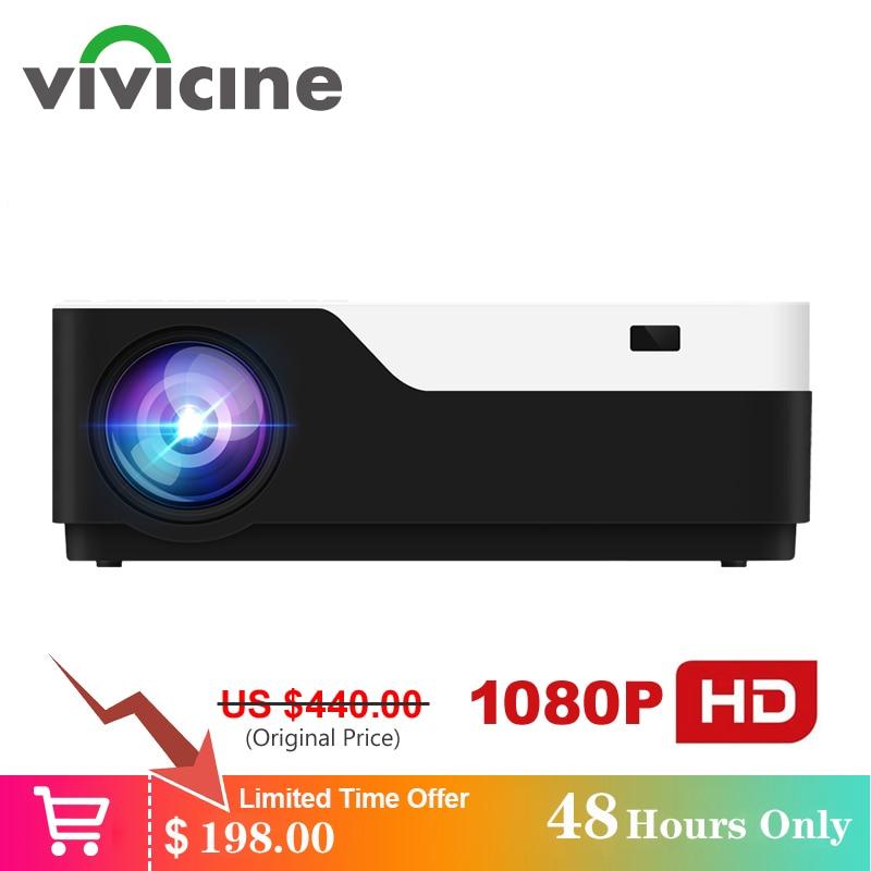 Vivicine m18 1920x1080 real projetor hd completo, hdmi usb pc 1080p led casa multimídia vídeo game projetor suporte ac3