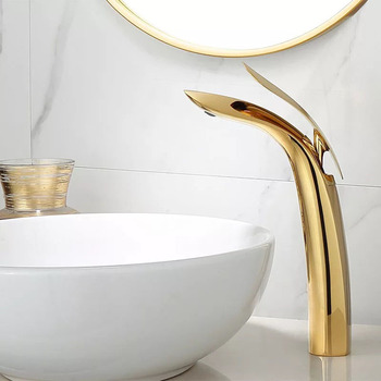New Basin Faucet Single Lever  Spout Moder Brass Mixer Tap For Kitchen Or Bathroom Basin Water Sink Mixer gold brus