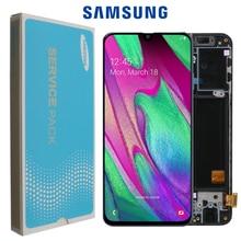 100% سوبر AMOLED لسامسونج A40 LCD 2019 A405 شاشة الكريستال السائل مجموعة المحولات الرقمية لشاشة تعمل بلمس مع الإطار استبدال إصلاح أجزاء