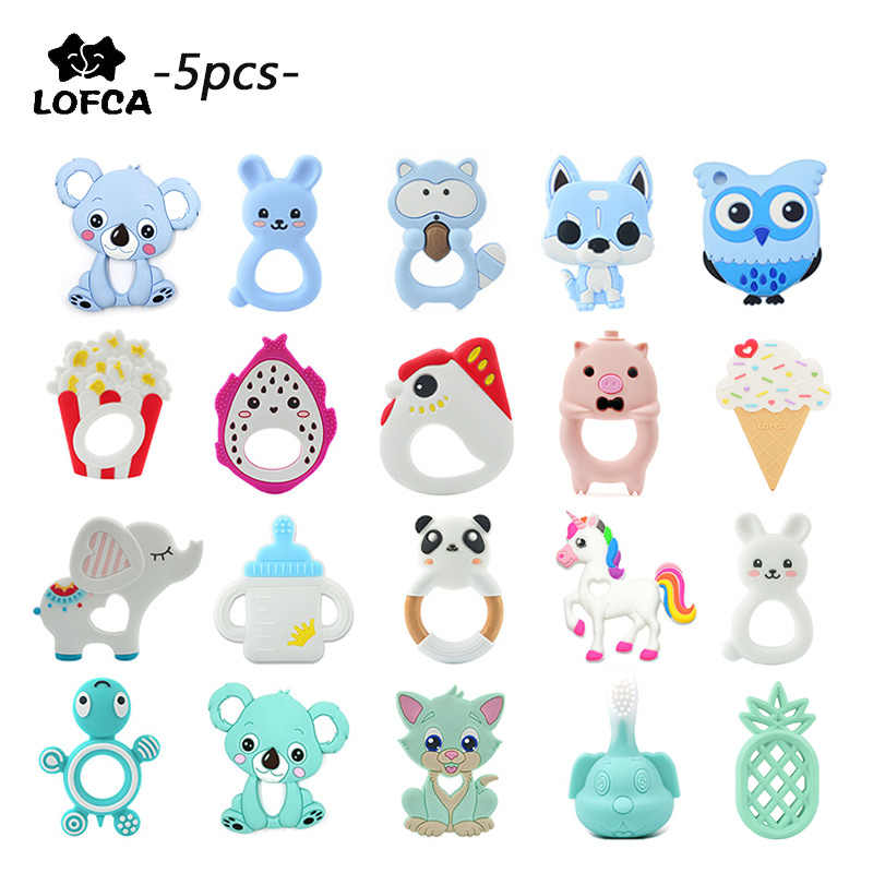 Baby Teether 5 Potongan/Lot Silikon Teething Kamera Kalung Jerapah Liontin Ice Cream Raccoon Teether Panda Biscuit