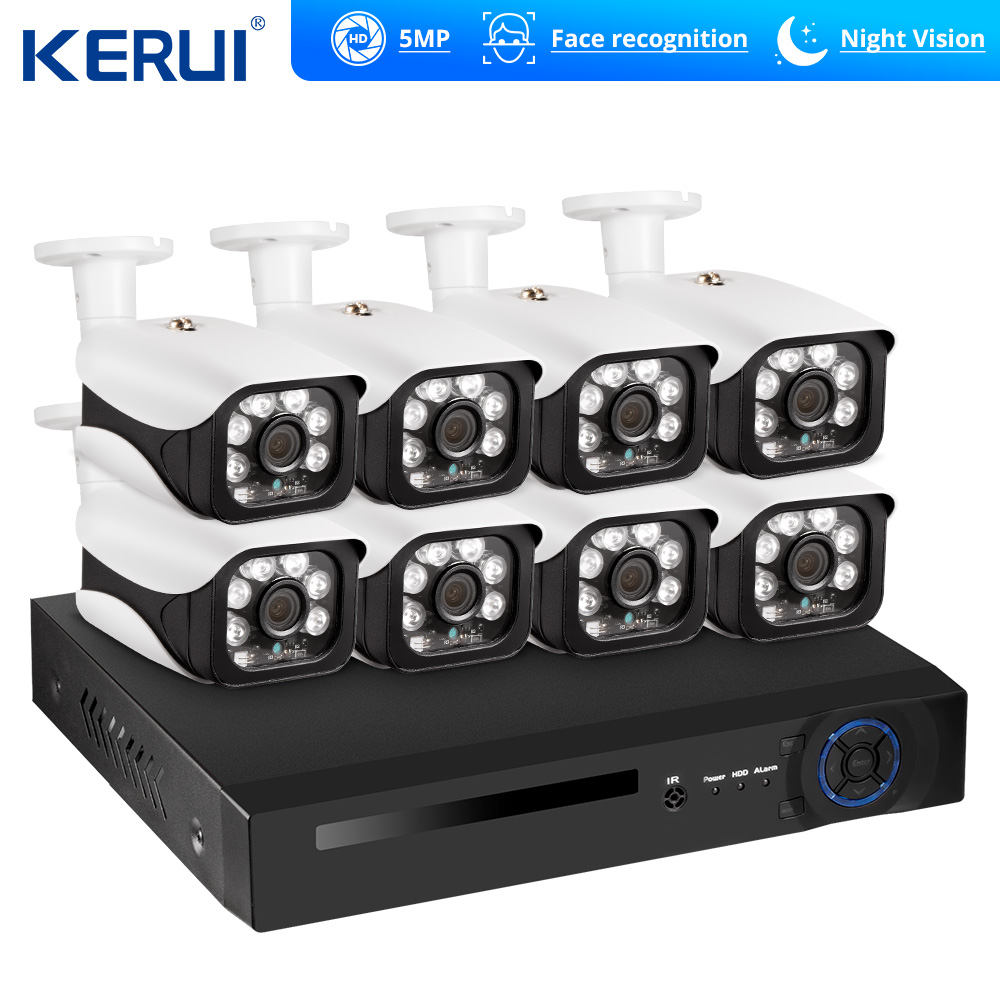 KERUI Face Recognition POE NVR 8CH 5MP Wireless NVR Security Camera System Outdoor IR CUT CCTV Video Surveillance Video Recorder|Surveillance System| |  - title=