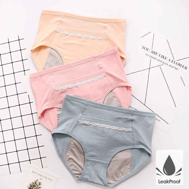 3pcs À Prova de Vazamento de Calcinha Calças Fisiológicas Menstrual Período Das Mulheres Roupa Interior Cuecas de Algodão À Prova D' Água