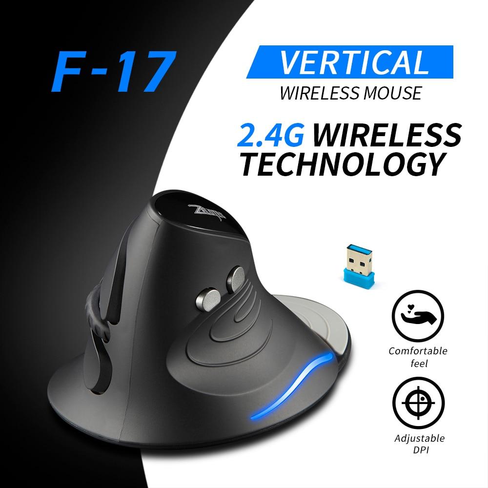 Оптическая мышь ZELOTES F-17 Вертикальная мышь 2,4 ГГц Беспроводная игровая мышь 6 клавиш эргономичная с 3 регулируемыми DPI для ПК ноутбука