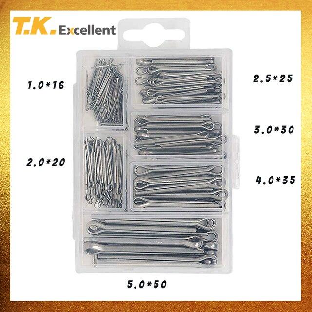 T.K.EXCELLENT  split pin  cotter Pin Set 304 Stainless Steel 5.0*50 4.0*35 3.0*30 2.0*20 2.5*25 1.0*16 230PCS