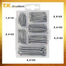 T.K. Uitstekende Split Pin Splitpen Set 304 Rvs 5.0*50 4.0*35 3.0*30 2.0*20 2.5*25 1.0*16 230 Stuks