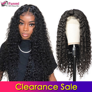 Распродажа Funmi 4x4 парики на шнурках человеческие волосы Бразильские глубокие волнистые кружевные парики для черных женщин предварительно с...