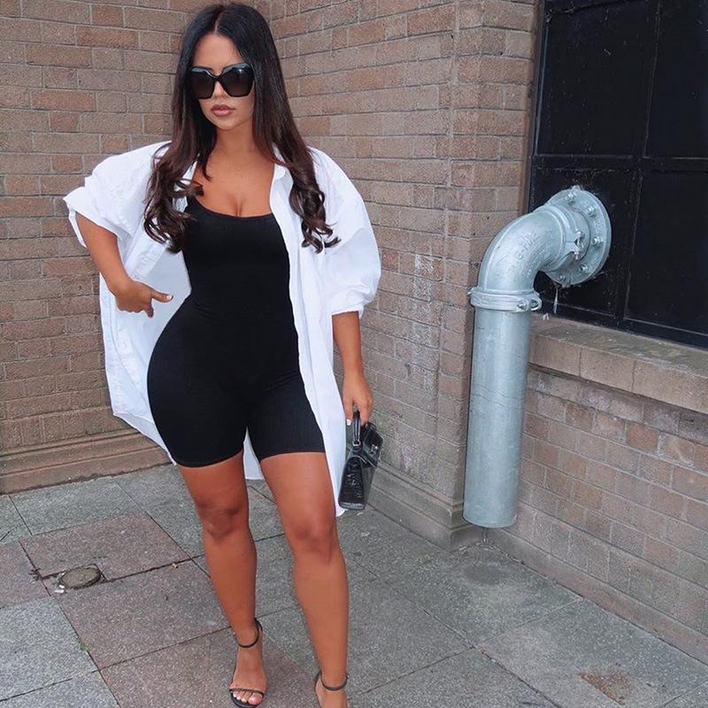 black Skinny Spaghetti Strap sleeveless Street woman Rompers bar club Bodycon bodysuit en jumpsuits body femme clothes vintage