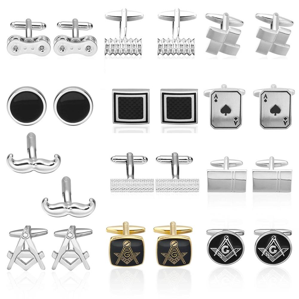 Luxury Fibre Square Men's Shirt Cufflinks New Fashion Brand Bike Chain Cufflinks Men's Wedding Shirt Moda Masculina Gemelos