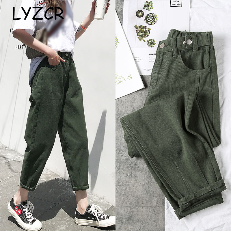 LYZCR Loose Harem Women's Jeans Female Candy Color Spring 2020 Jeans Women High Waist Denim Pencil Pants Winter Trousers