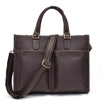 Briefcase Computer Bag Genuine Leather Crazy Horse Men's Leather Briefcase Messenger Bag For Men Laptop Bag Maletines-hombre