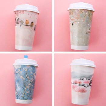 50pcs Creative party birthday favor disposable coffee milk tea cup 500ml cold and hot drink thick paper packaging cup with lid
