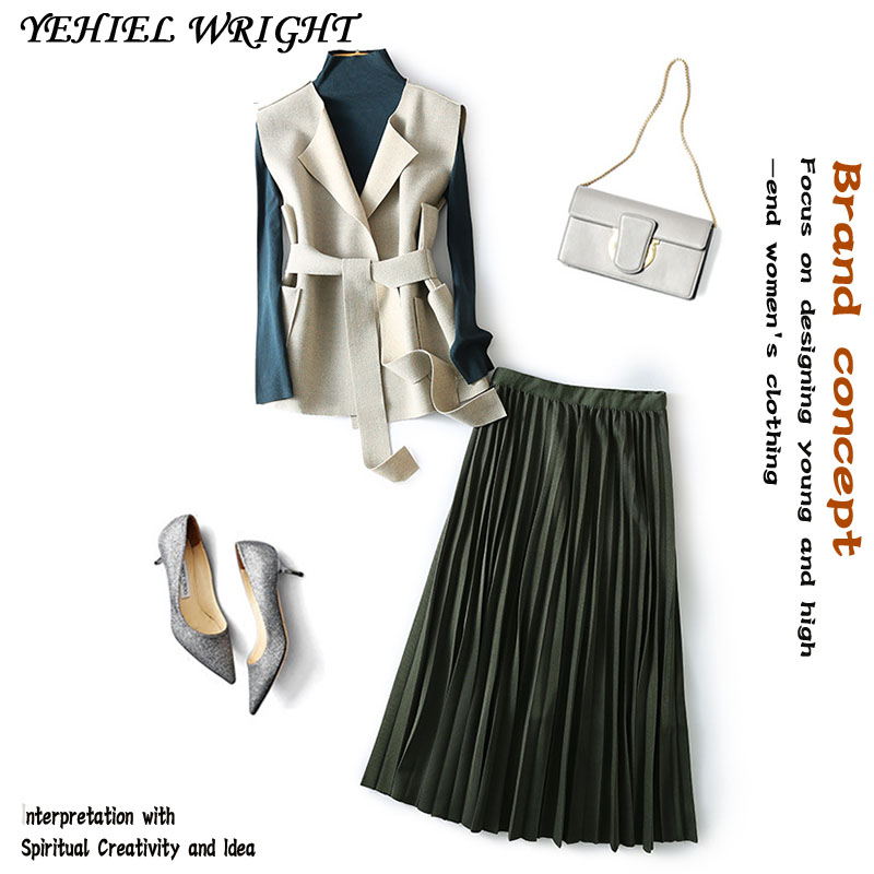 3 Pcs Sashes Runway Style Women Spring Autumn Twinsets Tees And Woolen Vest And Pleated Long Elegant Ladies Skirt Suits NS659