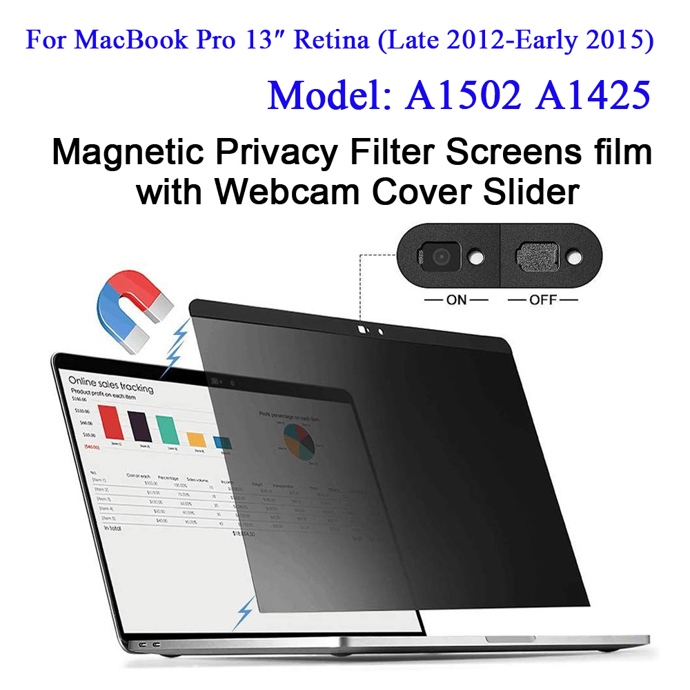 Magnetic Privacy Filter Screens film with Webcam <font><b>Cover</b></font> Slider For 2012-2015 <font><b>MacBook</b></font> <font><b>Pro</b></font> Retina <font><b>13</b></font> inch Model: <font><b>A1502</b></font> A1425 image