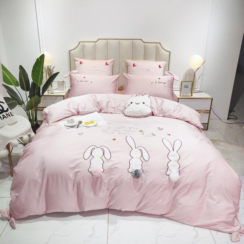 Новый розовый мультфильм кролик Единорог Вышивка 60S Египетский хлопок принцесса набор постельных принадлежностей для девочек пододеяльни