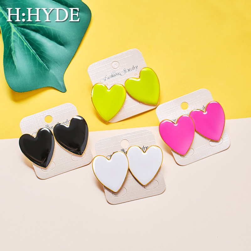 H:HYDE Black White Pink Yellow Heart Stud Earrings For Women Minimalist Korean Fashion Love Heart Enamel Earrings pendientes image
