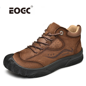 Image 1 - プラスサイズ天然皮革男性ブーツ手作り暖かい豪華な毛皮の男性の冬の靴品質足首の雪のブーツアウトドアシューズ男性