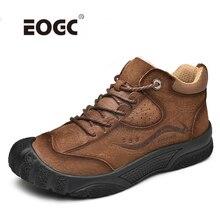 Plus rozmiar naturalne skórzane buty męskie ręcznie ciepłe pluszowe futro mężczyźni zimowe buty jakości kostki zimowe buty outdoorowe mężczyzn