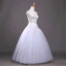 TULX 2021 Cheap White A-line Wedding Accessories Ball gown tulle hoopless Petticoat Crinoline Skirt Waist adjustable jupon