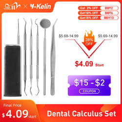 Stainless Steel Dental Dentist Prepared Tool Set Instruments Tweezer Hoe Sickle Scaler Mirror Tartar