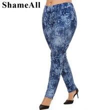 Long Jeans Denim Pants Elastic-Waist Plus-Size Trousers Stretch Gray Skinny Black 5xl Women