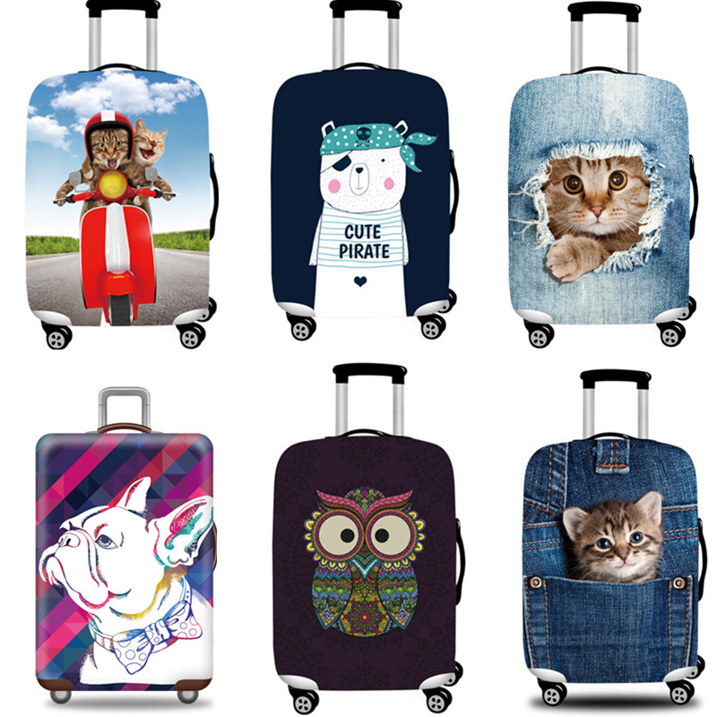 Cute Cartoon Thicker Luggage Protective Cover 3D Printing Elastic Dust Rain Bag For 18
