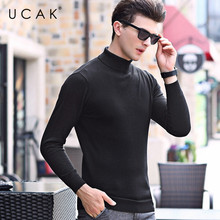 UCAK Brand Pure Merino Wool Turtleneck Solid Casual 2020 New Arrival Fashion Trend Pull Homme Warm Pullover Sweaters Men U3165