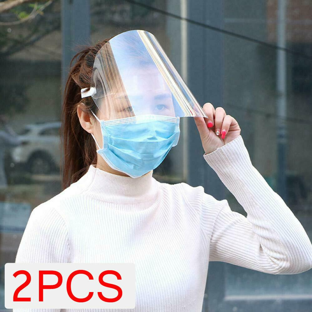 2 PCS High-Quality PVC Anti-fog Protective Safety Glasses Face Cap Clear Transparent Full Face Splash-proof Face Protection Hat