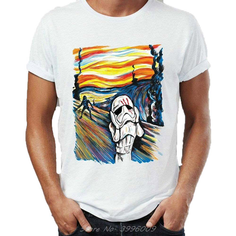 Star Wars The Scream The Traitor Stormtrooper <font><b>Parody</b></font> Funny White Summer Short Sleeves Fashion Print <font><b>Tshirt</b></font> Hip Hop Tops T-Shirt image