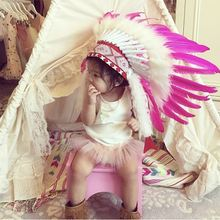 Индийский стиль перо головной убор шляпа Хэллоуин украшения Головные уборы гирлянда для маленьких девочек мальчиков фотография Реквизит ворсинок вождей Кепка