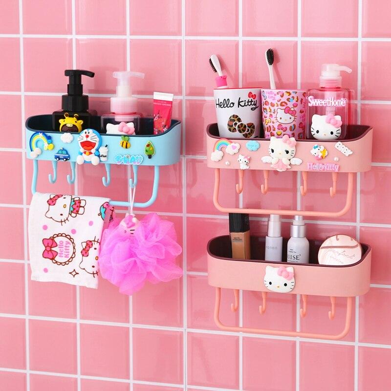 Hello Kitty Bathroom Washroom Storage Rack Organizer Wall Shelf Free-punching Basin Towel Rack Kitchen Seasoning Rack Wall Shelf