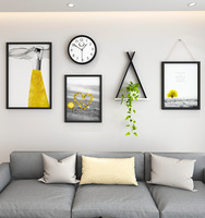 Home Art Decor Photo Picture Frame Set Beauty Women Photo Wall Shelf Clock Combination Hanging Painting Wooden Picture Frames